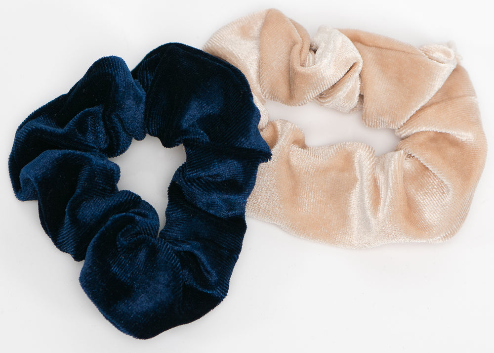 Cream and Blue Velvet Scrunchy Set