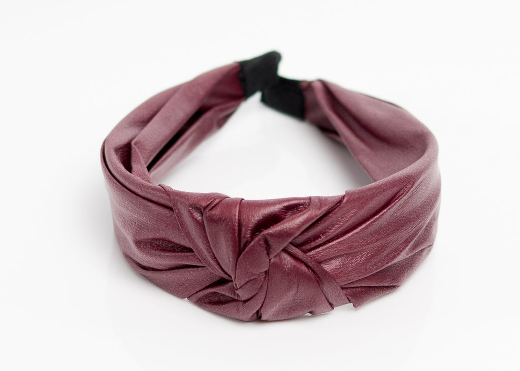 Burgundy Faux Leather Top Knotted Headband