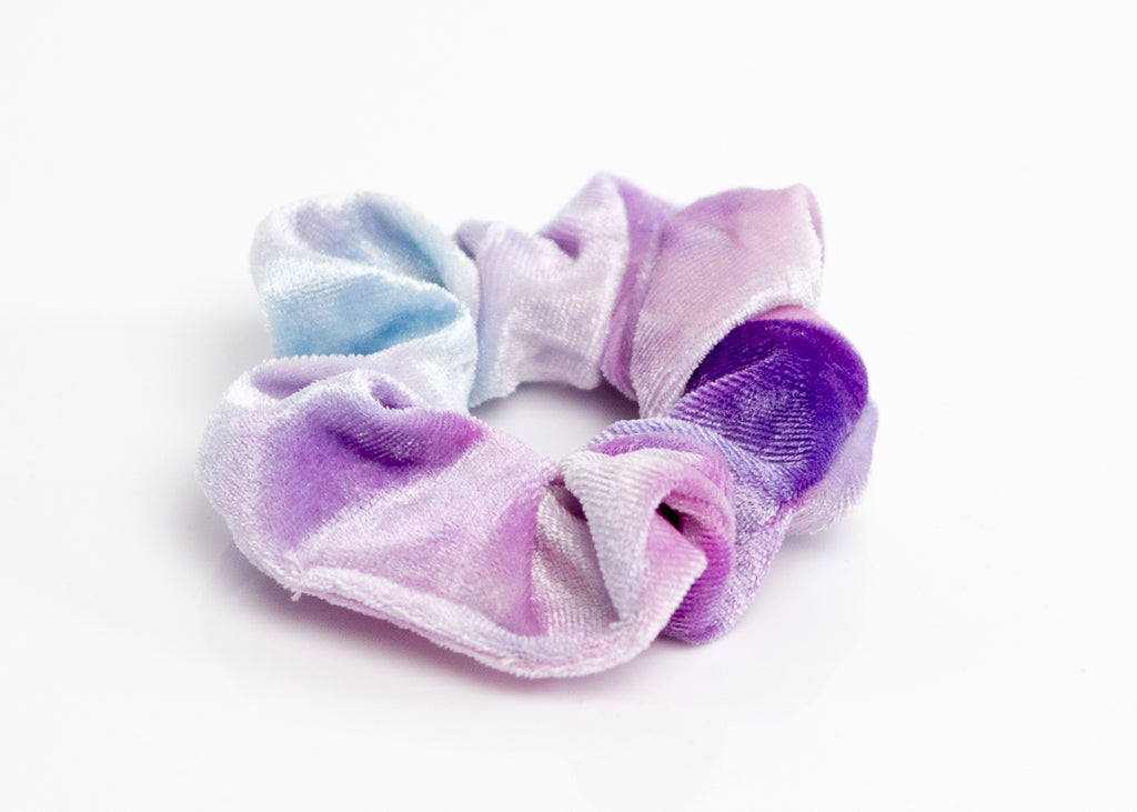 Tie-Dye Green and Purple Velvet Scrunchy Set