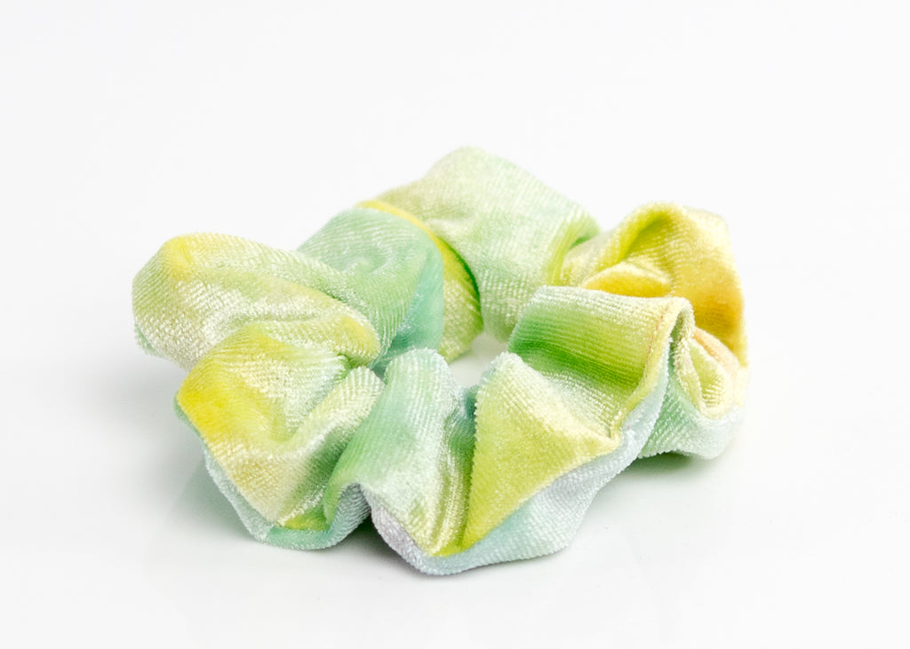 Tie-Dye Green and Gray Velvet Scrunchy Set