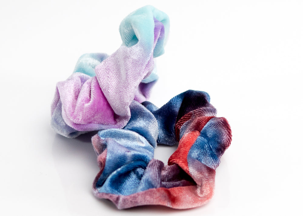 Tie-Dye Blue and Purple Velvet Scrunchy Set