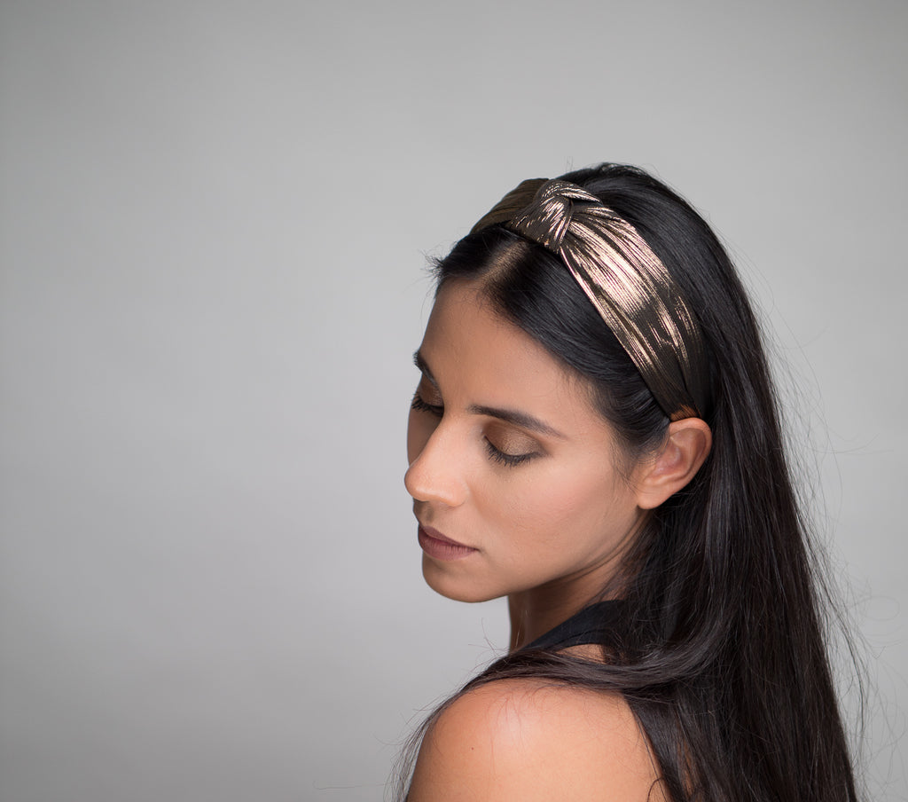 Golden Shiny Silk Wrinkle Hairband