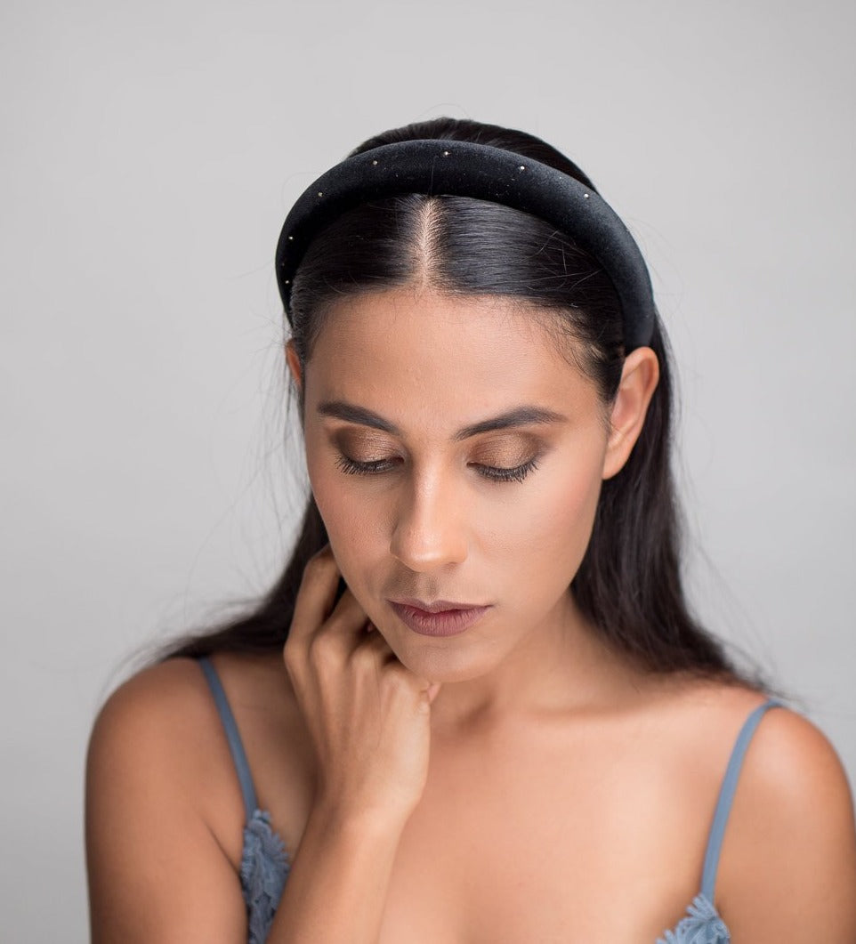 Black and gold padded headband the betina