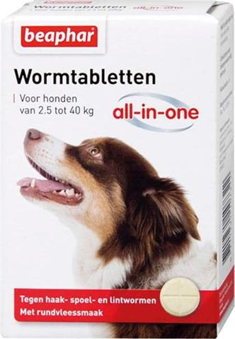 Beaphar Wormtablet All-In-One Hond 2,5-40 kg 4 tbl - Luxory Pets