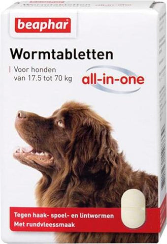 Beaphar Wormtablet All-In-One Hond 17,5-70 kg 2 tbl - Luxory Pets