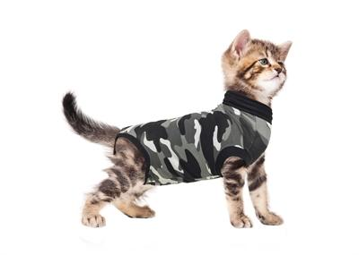 Suitical recovery suit kat zwart camouflage s 43-51 cm - Luxory Pets