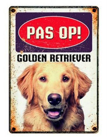 Plenty Gifts Waakbord Blik Golden Retriever 15x21 cm - Luxory Pets