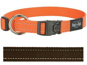 Rogz for dogs fanbelt halsband choco 20 mmx34-56 cm - Luxory Pets
