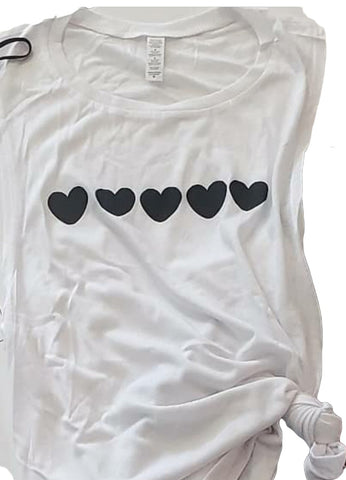 Black Hearts White Tank Tee