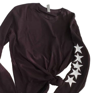 White Star Black Long Sleeve Tee