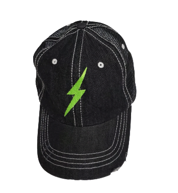 Neon Green Light Bolt Baseball Cap