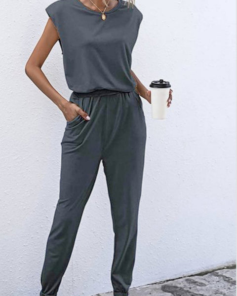 Two piece should pad jogger set loungewear