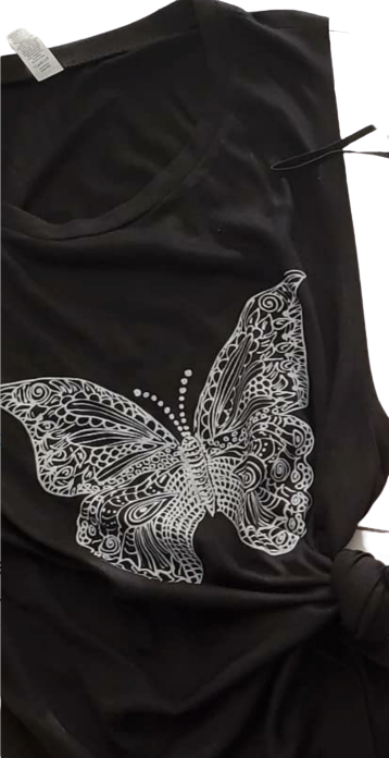 White Butterfly Black Tank Tee