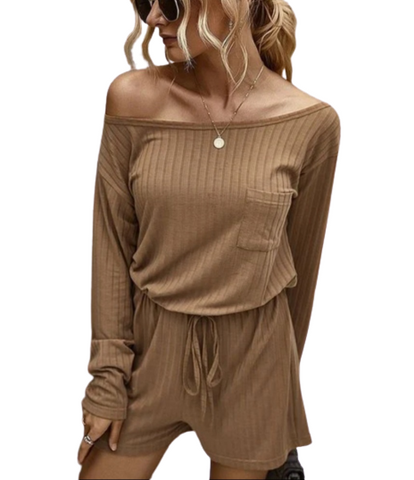 Brown Off Shoulder Long Sleeve and Short Set Loungewear