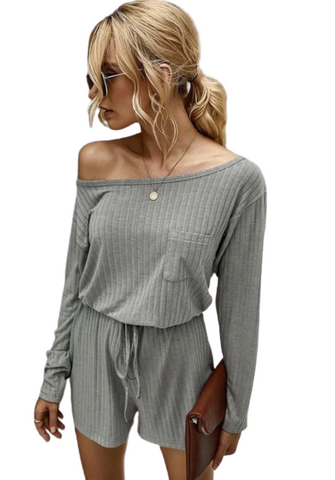 Grey Off Shoulder Long Sleeve and Short Set Loungewear