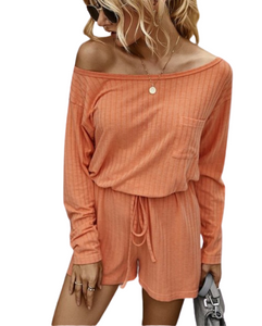Orange Off Shoulder Long Sleeve and Short Set Loungewear