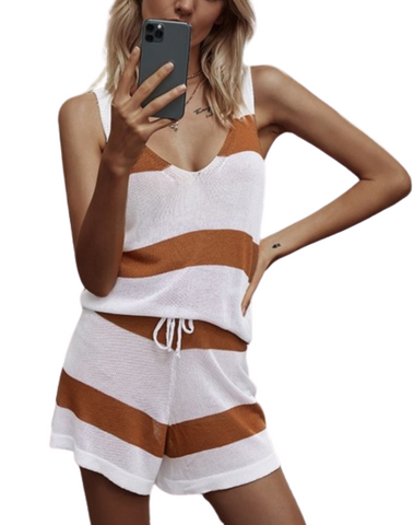Striped Cognac Short Set Loungewear