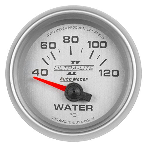 "Auto Meter AutoMeter 4937-M Gauge, Water Temp, 2 1/16"", 40-120ºc, Electric, Ultra-Lite Ii"