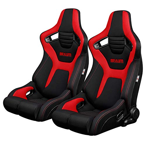 BRAUM - Pair of Black And Red Cloth ELITE-R Series Racing Seats with Red Stitches (BRR1R-BFRD)