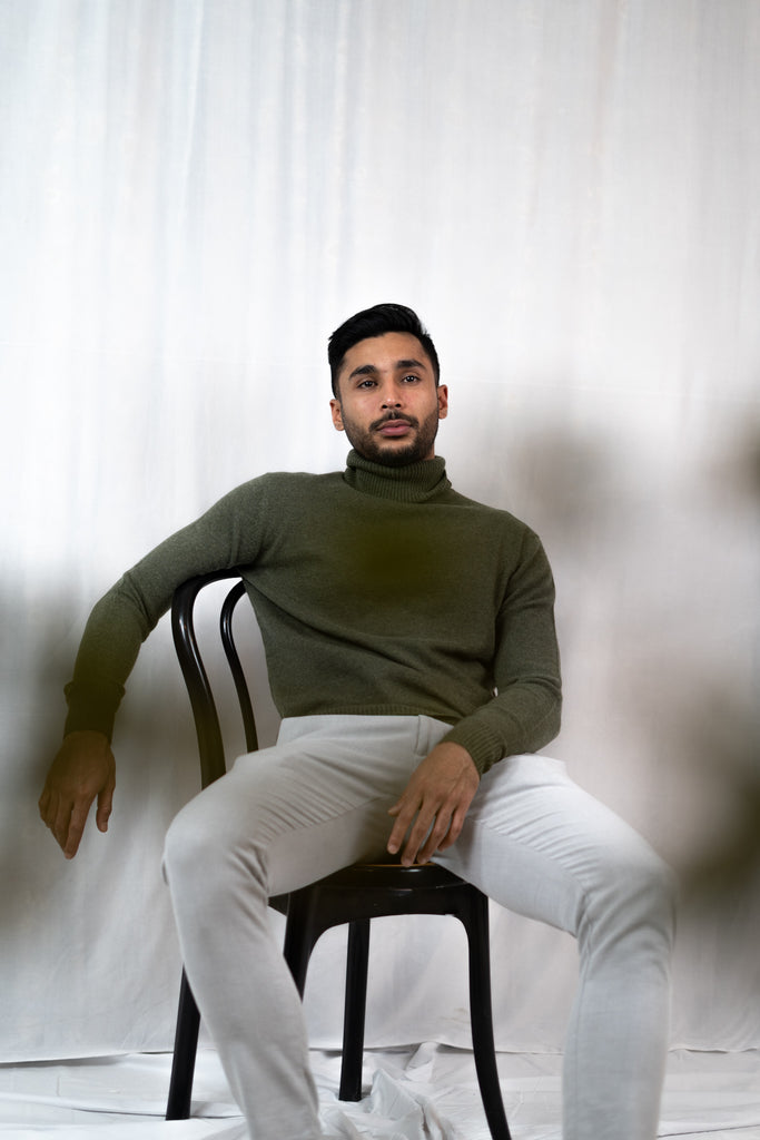 Model wearing Talha in Olive Cardigan | Recycled Cashmere Turtleneck Sweater | golapi