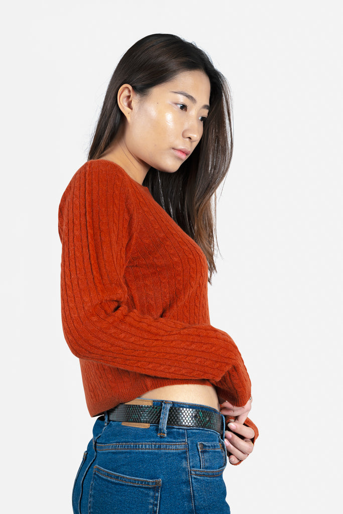 Model wearing Anya in Ruby Sweater | Cable Knit Recycled Cashmere Cardigan | golapi