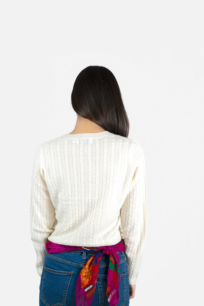 Model wearing Anya in Pearl Sweater | Cable Knit Recycled Cashmere Cardigan | golapi