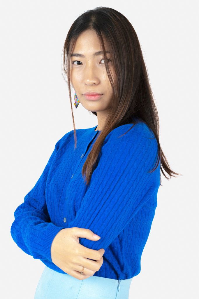 Model wearing Anya in Blue | Cable Knit Recycled Cashmere Cardigan