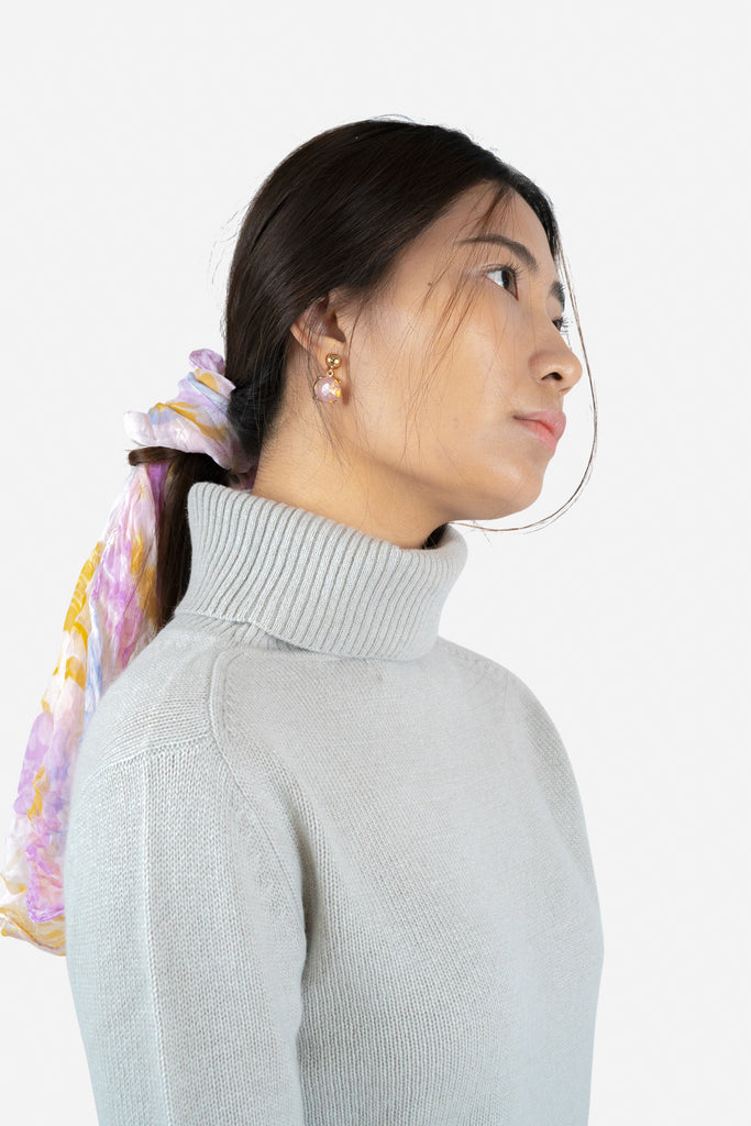 Model wearing Keya in Grey | Recycled Cashmere Turtleneck Sweater | golapi