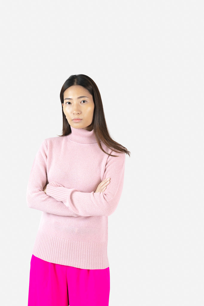 Model wearing Keya in Pink Sweater | Recycled Cashmere Turtleneck Sweater | golapi