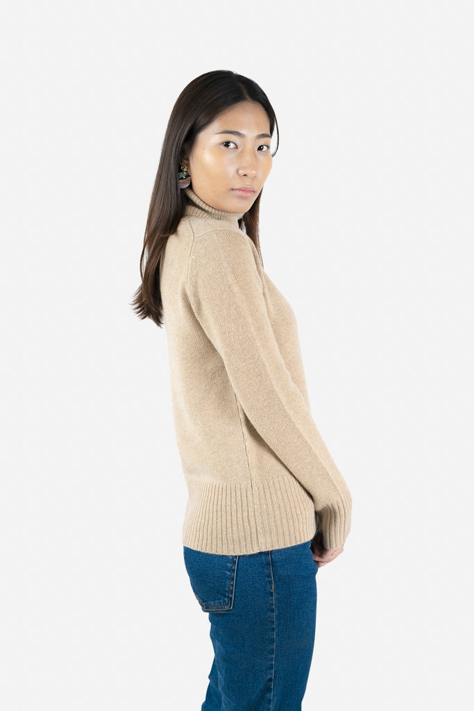 Model wearing Keya in Beige Sweater | Recycled Cashmere Turtleneck Sweater | golapi