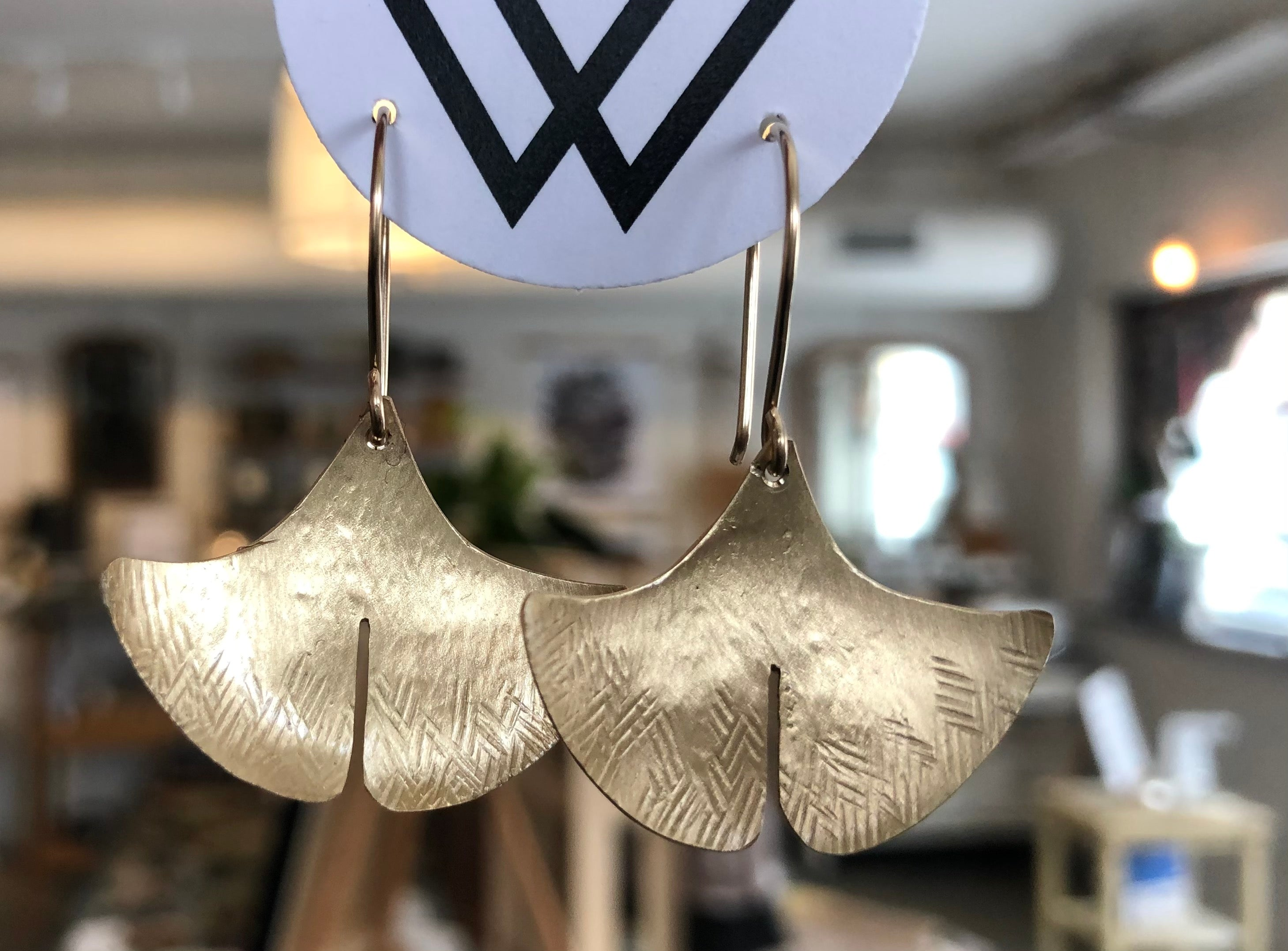 Brass Ginkgo Earrings