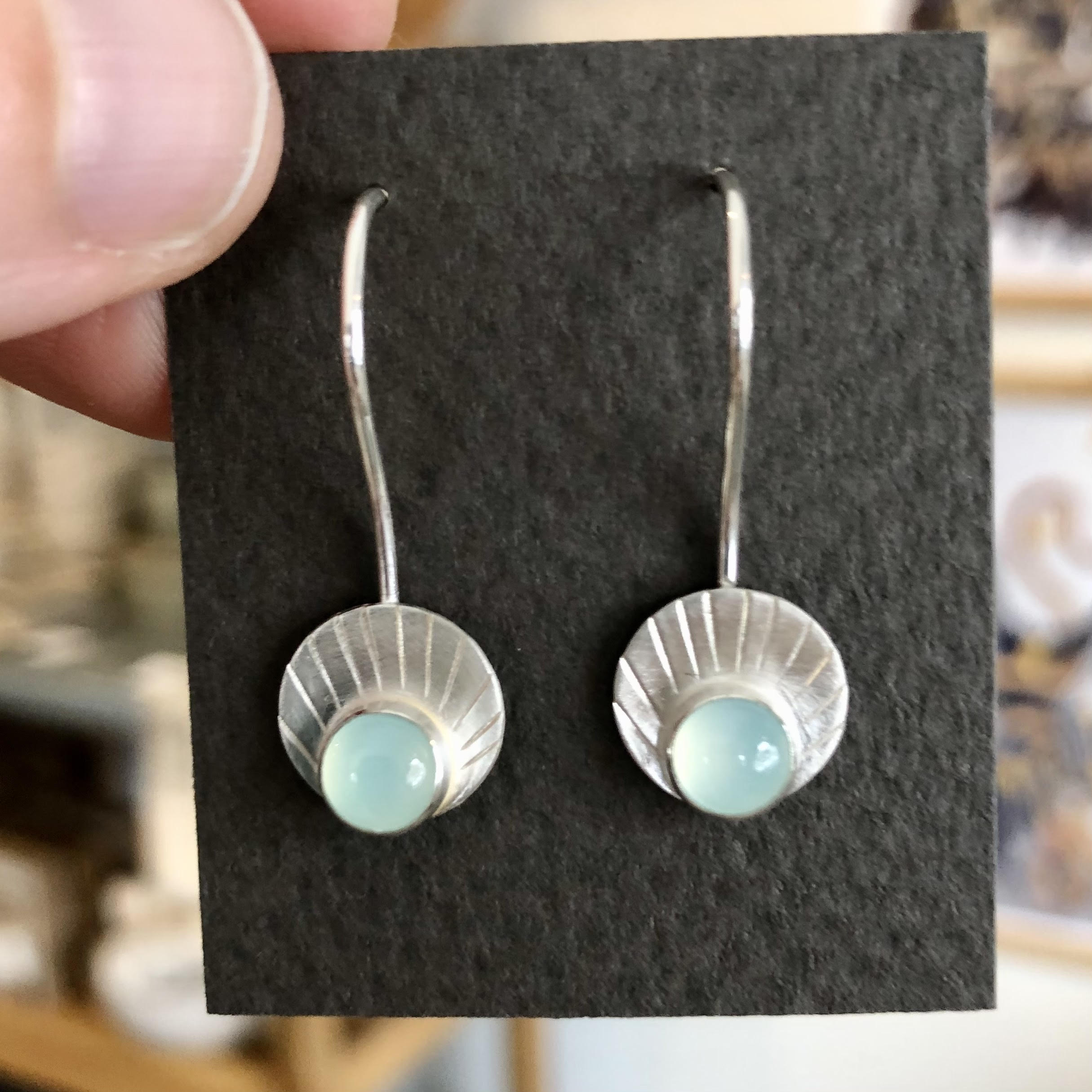 Circle Chalcedony Drop Earrings