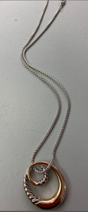 Unique double loop 2-tone necklace - Juli & Boutique