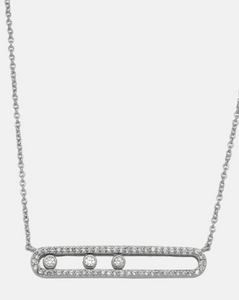 Silver Rhinestone Bar necklace - Juli & Boutique