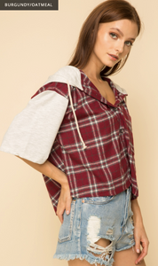 Plaid Button down Hoodie Crop Shirt Top - Juli & Boutique
