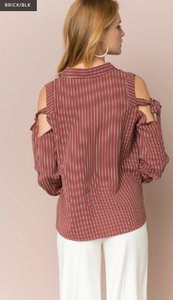 Directional Stripe Cold Shoulder Blouse - Juli & Boutique