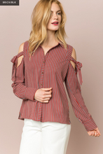 Load image into Gallery viewer, Directional Stripe Cold Shoulder Blouse - Juli & Boutique