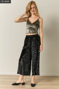 Mesh Insert Velvet Crop Top - Juli & Boutique