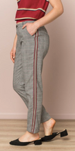 Load image into Gallery viewer, CHECKERED VELVET TRIM TROUSER - Juli & Boutique