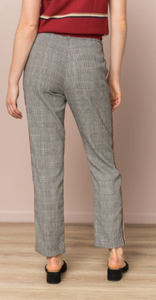 CHECKERED VELVET TRIM TROUSER - Juli & Boutique