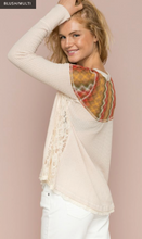 Load image into Gallery viewer, Multicolor Yoke Lace Flared Henley - Juli & Boutique