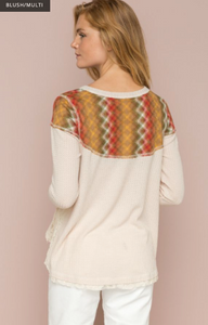 Multicolor Yoke Lace Flared Henley - Juli & Boutique