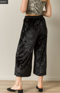 SLIT DETAIL VELVET WIDE LEG PANTS - Juli & Boutique