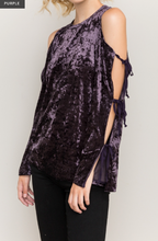 Load image into Gallery viewer, TIE OPEN SLEEVE COLD SHOULDER VELVET PULLOVER TOP - Juli & Boutique