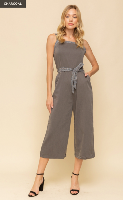 Plaid Contrast Button Back Jumpsuit - Juli & Boutique