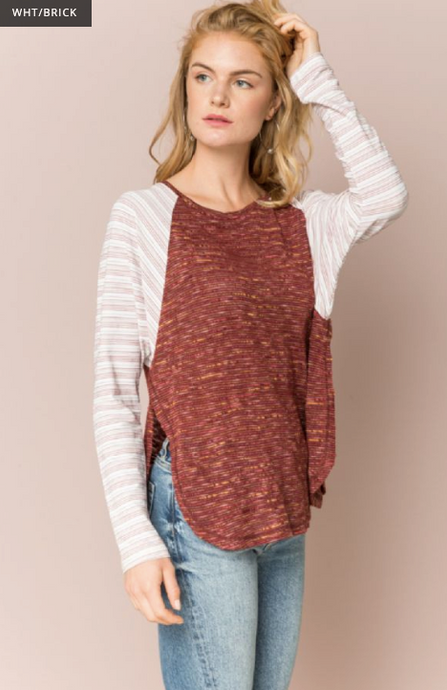 Color Mixed Raglan Sleeve Pullover Top - Juli & Boutique