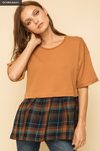 OVERSIZED PLAID CONTRAST TWO FER TOP - Juli & Boutique