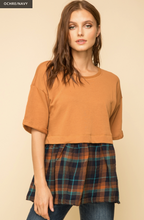 Load image into Gallery viewer, OVERSIZED PLAID CONTRAST TWO FER TOP - Juli & Boutique
