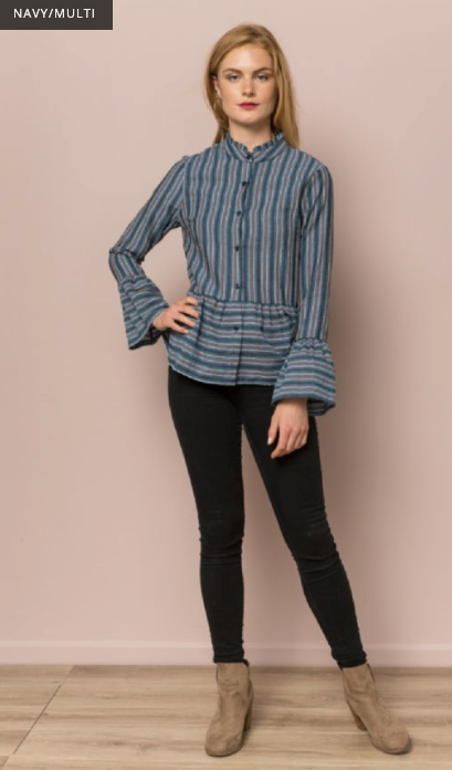 Fun Flirty Striped Peplum Button Down Top - Juli & Boutique