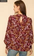 Load image into Gallery viewer, Ruffle Mock Neck Lace inset Blouse - Juli & Boutique
